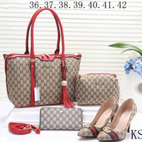 GUCCI 2018 new female counter models stylish four-piece Messenger bag F-KSPJ-BBDL red