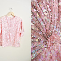 Vintage Womens Pink Sequin Beaded Sunburst Top Trophy Party NYE Shirt