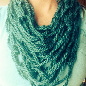 Teal Single Wrap Chunky Arm Knit Infinity Scarf