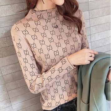 GUCCI Trending Women Stylish GG Letter Long Sleeve Knit Sweater Pullover Top Sweatshirt Apricot