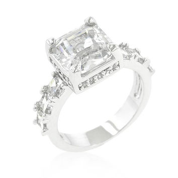 Asscher Cut Engagement Ring, size : 10