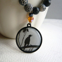 Black Crackle Agate Necklace - Raven - Genuine Stone Jewelry - Handmade