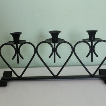 Amazing Black Metal Candle Holder, Heart Stand, Metal Art, Home Decor, Candlestick, Table Decor, Wrought Iron, Cottage Chic