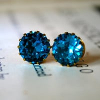Kate Earrings Blue Zircon Swarovski Crystal by orangejuniper