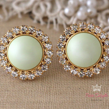 Mint Powder Crystal earrings, Green Powder, pearl Swarovski Crystal stud earrings, Pastel Pearl crystal earrings, Bridesmaids earrings.