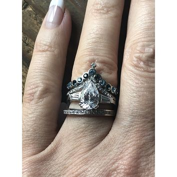 Bespoke Collection, A 2.9CT Pear Cut Russian lab Diamond Ring Stacking Set