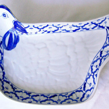 "Thai CERAMIC PLATE Chicken Shaped ~ Blue & White Platter ~ Dish Hand Painted by Thai Artisans ~ 10.3"" x 7.5"" x 1.95"" ~ New ~ Ships from USA"