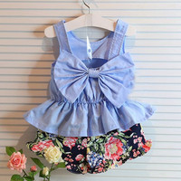Girls Blue Bow Vest + Flower Shorts 2pc Outfit