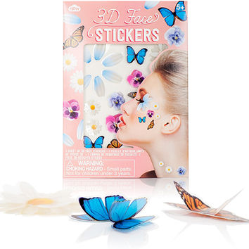 3D BUTTERFLY + FLOWER FACE STICKERS