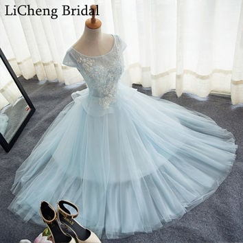 Real picture blue applique flower lace cocktail Dresses  scoop ball gown homecoming Dresses vestido de festa longo 2017