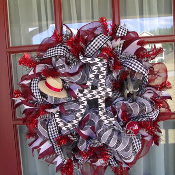 Alabama Crimson Tide College Fan Deco Mesh Door Wreath