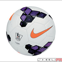 Nike Saber EPL Soccer Ball - White with Purple and Total Orange - SoccerPro.com
