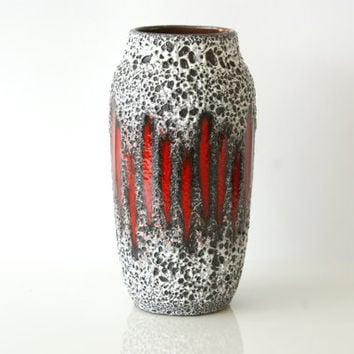 WEST GERMAN POTTERY Vase, Scheurich 242-22, Lora Design, 1970s, Fat Lava, Black and White and Electric Red Stripes, Made in Germany