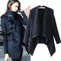Long Sleeve Asymmetric Wool Coat