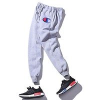 """Champion"" Women Men Fashion Embroidering Print Sport Stretch Pants Trousers Sweatpants Grey"