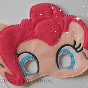 READY TO SHIP Pony Inspired Pretend Mask, Felt Pony Mask, Pony Party Favors, Pinkie Pie Pony Mask, Pretend Play, Imagination Toys
