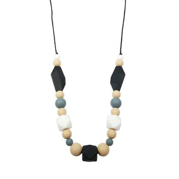 Silicone Teether Necklace for Moms and Baby - Black/Beige