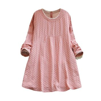 2019 Hot Selling Women Clothing Daily Casual Long Sleeve O Neck Loose Cotton Linen Dot Club Party MIni Dress
