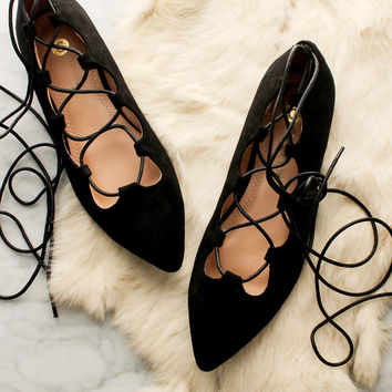 Pirouette Lace Up Flats - Black
