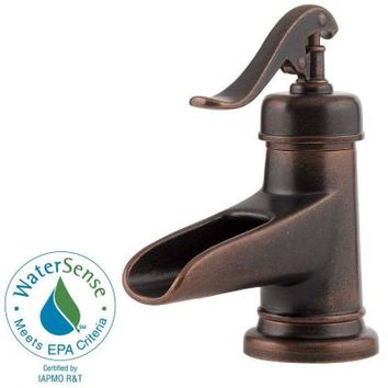 Pfister Ashfield 4 in. Centerset 1-Handle Low-Arc Bathroom Faucet in Rustic Bronze-F-042-YP0U - The Home Depot