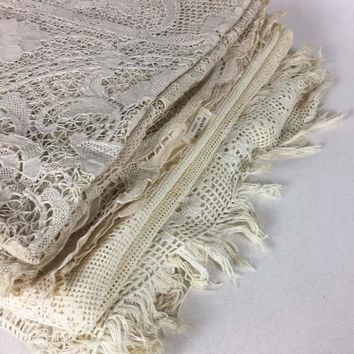 Set of 3 VIntage Lace, Crocheted Linens