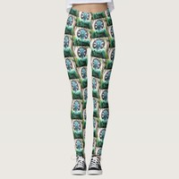 """Peace"" Quote Asian Turquoise Buddha Statue Photo Leggings"