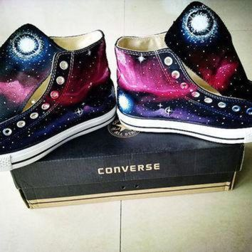 QIYIF galaxy converse sneakers hand painted high by emilytamhandpainting