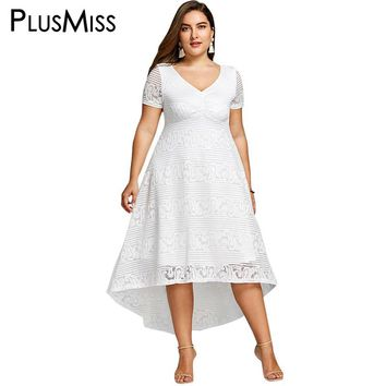 PlusMiss Plus Size 5XL 4XL White Lace Crochet Elegant Party Dress Summer 2018 Short Sleeve Maxi Long Beach Dress Women Sundress