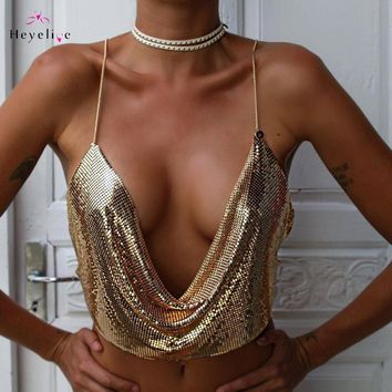 Supper Sexy Bikini Cover Up Women Halter Glittered Summer Beach Ware Backless Sexy Top For Girls Holiday Beach Party Cover Up