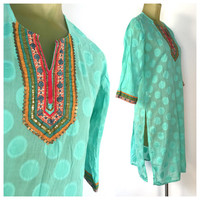Beautiful Indian Tunic, Mint Green, Big Polka Dots, Beaded Sequined Bib, Embroidery Low Cut, High Side Slits, Tunic Shirt Dress Vintage Boho