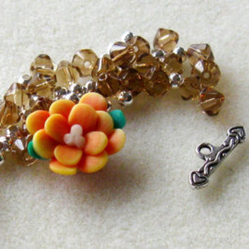 Polymer Clay Flower Bead  Czech Glass Beads Topaz Orange Silver Pewter Bracelet Beads Kit DIY Jewelry Kit
