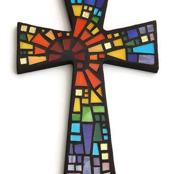 "Mosaic Wall Cross, Black with Rainbow Glass, ""Blessed"", Handmade Stained Glass Mosaic Cross Wall Decor, 12"" x 8"""
