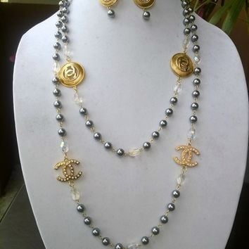 "Beautiful 56"" Designer Inspired Pearl & Crystal Necklace Set"