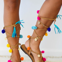 Pom Pom Lace Up Gladiator Sandals