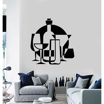 Vinyl Wall Decal Alcohol Drink Bar Wine Glass Bottle Kitchen Decor Stickers Mural (g1157)