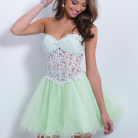 Sweetheart Beaded Lace Homecoming Blush Dress 9869