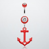Loves Anchor Heart Belly Button Ring