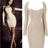 Senfloco Women's Long Sleeve Studded Cocktail Evening Party Bandage Pencil Dress