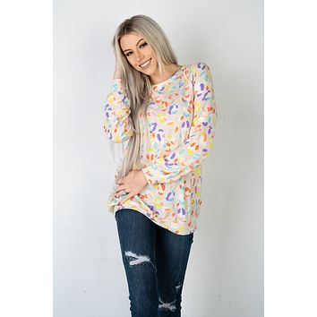 Leopard Candy Print Long Sleeve Top