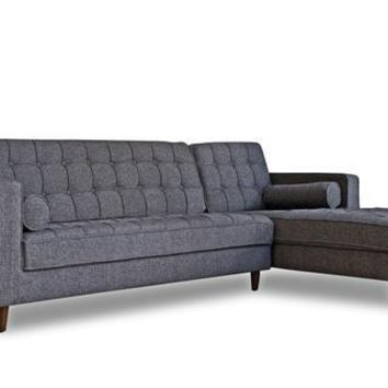 Westbury Mid-Century Modern Sectional Sofa Charcoal Gray, Right Facing