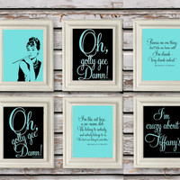 Digital Download Set Breakfast at Tiffanys, Audrey Hepburn Prints