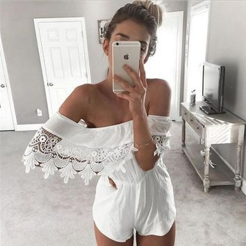 Strapless Lace Boat Neck Rompers Jumpsuit