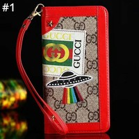 GUCCI Tide brand flip leather case card iphonexs max mobile phone case cover #1