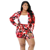 Red Floral Print Blazer and Shorts Set