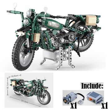 In Stock legoings motorcycle US Military Army Green Technic 550pcs Model Motor Building Block Brick Toys For Children Kids Gifts