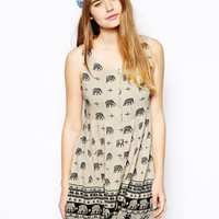 Kiss The Sky Button Down Dress In Elephant Print - Multi