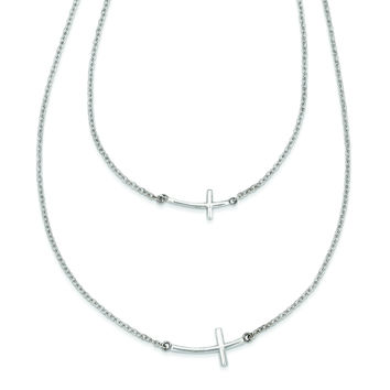 Sterling Silver Small & Large Sideways Curved Cross 2-Layer Necklace QG3463
