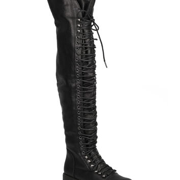 Thigh High Lace Up Combat Boots - Black