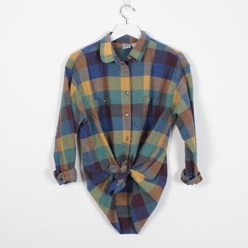 Vintage 90s Shirt Mustard Gold Blue Green Check Plaid Button Down Shirt 1990s Shirt Soft Grunge Collared Boyfriend Shirt M Medium L Large