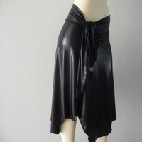 Leather / Latex Look Tango & Salsa Skirt fits US 0 to 6 Dance Skirt asymmetric Skirt Style -One of a Kind